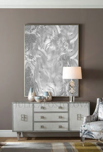 Elegant Art, Luxury Art, Minimalist Art, Abstract Painting Canvas Wall Art, Gray Wall Art, Julia Apostolova, Elegant Painting, Canvas Wall Art, Silver Shinning, Mettalic Accents, Interior, Glam, Living Room, Decor, Home Decor, Hotel Lobby,