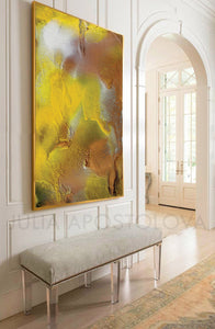 Yellow Copper Abstract Large Wall Art Canvas Print Summer Modern Yellow Painting Julia Apostolova interior decor modern art