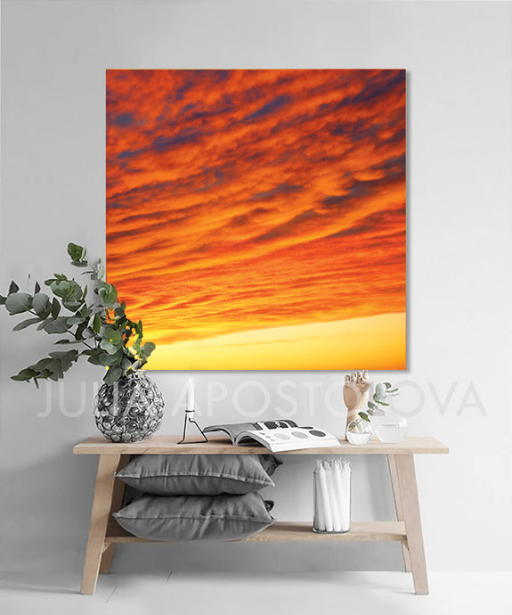 Abstract Sunset, Orange Wall Art, Sunrise Abstract, Orange Canvas Print, Cloud Photo, Minimalist Painting, Fine Art Photography, Abstract Print, Modern Art, Large Wall Art, Orange Home Decor, Julia Apostolova, interior, livingrioom, office decor, home decor