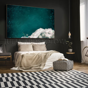 Large Cloud Painting, Dreaming an Emerald Dream, Dark Teal Wall Art Canvas, Trendy Decor,  Julia Apostolova, Large Cloud Painting, Celestial Decor, Cloud Wall Art Abstract Teal White Clouds, Large Canvas, Cumulus Clouds, Cloud Painting, Emerald Cloud Art, Celestial Abstract, Teal White Cloud Wall Art Large Textured Canvas, Julia Apostolova, Cloud Abstract Painting, Decor, Interior, Bedroom, Living Room, Celestial Wall ART, Clouds. Cloud Wall Art, Art over Bed, Dreamy Decor, Hotel Lobby Art