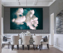Cloud Painting Print, Dreamy Cloudscape Abstract, Dark Teal Wall Art Canvas, Large Trendy Cloud Art, Julia Apostolova, Cloud Painting, Mystery, Dark Sky, Decor, Interior Ideas, Interior Design, Bedroom Art, Art over bed, Living Room, Hotel Lobby Decor Wall Art, Dreaming Art, Dinning Room, Trend Decor