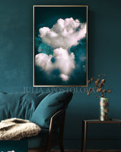 Cloud Painting Print, Dreamy Cloudscape Abstract, Dark Teal Wall Art Canvas, Large Trendy Cloud Art, Julia Apostolova, Cloud Painting, Mystery, Dark Sky, Decor, Interior Ideas, Interior Design, Bedroom Art, Art over bed, Living Room, Hotel Lobby Decor Wall Art, Dreaming Art, Trend Decor