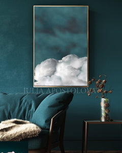 Cloud Wall Art, Cumulus Canvas, Minimalist Abstract Cloud Painting, Nordic Art Print, Trendy Decor, Dreamy Decor, Julia Apostolova, Minimalist Painting, Abstract Cloudscape, Teal Wall Art, Decor, Interior, Bedroom, Livingroom, Office decor, Hotel Lobby, Interior Designer, Modern Art, Nordic Wall Art, Scandinavian Art