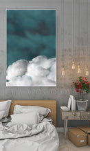 Cloud Wall Art, Cumulus Canvas, Minimalist Abstract Cloud Painting, Nordic Art Print, Trendy Decor, Dreamy Decor, Julia Apostolova, Minimalist Painting, Abstract Cloudscape, Teal Wall Art, Decor, Interior, Bedroom, Livingroom, Office decor, Hotel Lobby, Interior Designer, Nordic Wall Art, Scandinavian Art