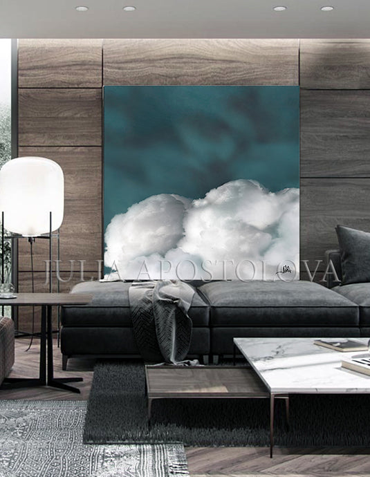 teal wall art, cloud painting, trendy decor, Cloud Abstract Clouds, Large Canvas, Julia Apostolova, Teal Cloud Large Canvas, Wall Art Cloud Painting Abstract, Celestial Wall Decor, Julia Apostolova, Purple Sky, watercolor painting, trendy wall art, celestial painting, celestial abstract wall art, bedroom wall art, celestial decor, interior designer, interiors, abstract cloudscape, abstract clouds, dreamy trend art, dark sky, teal painting, contemporary art, celestial abstract, nordic wal art, bedroom
