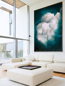 Dark Teal, Wall Art Cloud Painting, Cloud, Large Cloud Art Textured Canvas Print, Modern Interior Decor, Julia Apostolova, Dreamy Wall Art, Dream Art, luxury decor, art above bed art, airbnb decor, oil painting, abstract wall art, abstract print, abstract painting, abstract cloudscape, abstract clouds, interior decor, huge wall art canvas, huge wall art, teal wall art, teal home decor, teal and white, teal abstract, stretched canvas, silver details, shining art, abstract clouds, abstract cloud wall art