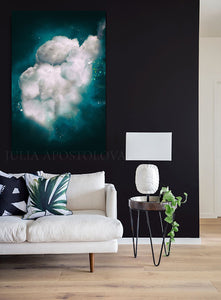 Dark Teal, Wall Art Cloud Painting, Cloud, Large Cloud Art Textured Canvas Print, Modern Interior Decor, Julia Apostolova, Dreamy Wall Art, Dream Art, luxury decor, art above bed art, airbnb decor, oil painting, abstract wall art, abstract print, abstract painting, abstract cloudscape, abstract clouds, interior decor, huge wall art canvas, huge painting, teal home decor, office wall art, dark sky, clouds and stars, teal and white, teal abstract, silver details, abstract clouds, abstract cloud wall art