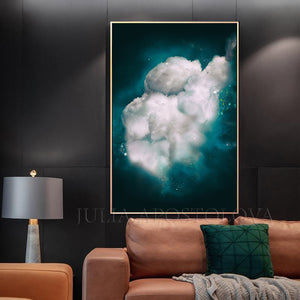 Dark Teal, Wall Art Cloud Painting, Cloud, Large Cloud Art Textured Canvas Print, Modern Interior Decor, Julia Apostolova, Dreamy Wall Art, Dream Art, luxury decor, art above bed art, airbnb decor, oil painting, abstract wall art, abstract print, abstract painting, abstract cloudscape, abstract clouds, interior decor, huge wall art canvas, huge wall art, teal wall art, teal home decor, dark sky, clouds and stars, teal and white, teal abstract, stretched canvas, silver details, shining art, abstract clouds