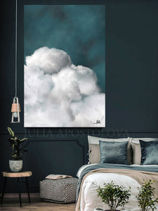 Cumulus Cloud, Dreamy Wall Art, Cloud Painting, Scandinavian Decor, Cloud Wall Art, Canvas Print, Abstract Cloudscape, Julia Apostolova, Bedroom Wall Art, Living Room, Master Bedroom Decor, Interior, Design, Interior designers, Kids Decor, Nursery