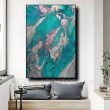 Teal Silver Wall Art Marble Abstract Ocean Art, Large Painting Turquoise Purple, Embellished Canvas