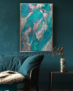 Teal Silver Wall Art, Marble Abstract, Ocean Art, Large Painting, Turquoise Purple, Embellished Canvas, Marble Wall Art, Purple and Teal, Abstract Ocean, Canvas Print, Seascape, Large Wall Art, Modern Painting, Julia Apostolova, turquoise and purple, turquoise and pink, interior decor, dining room, living room, Embellished Print, Earth Colors, Modern Painting, Seascape Abstract Painting