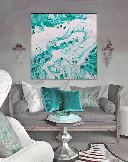 White Turquoise Wall Art Coastal Decor,Aqua Abstract Fluid Painting Canvas Print by Julia Apostolova