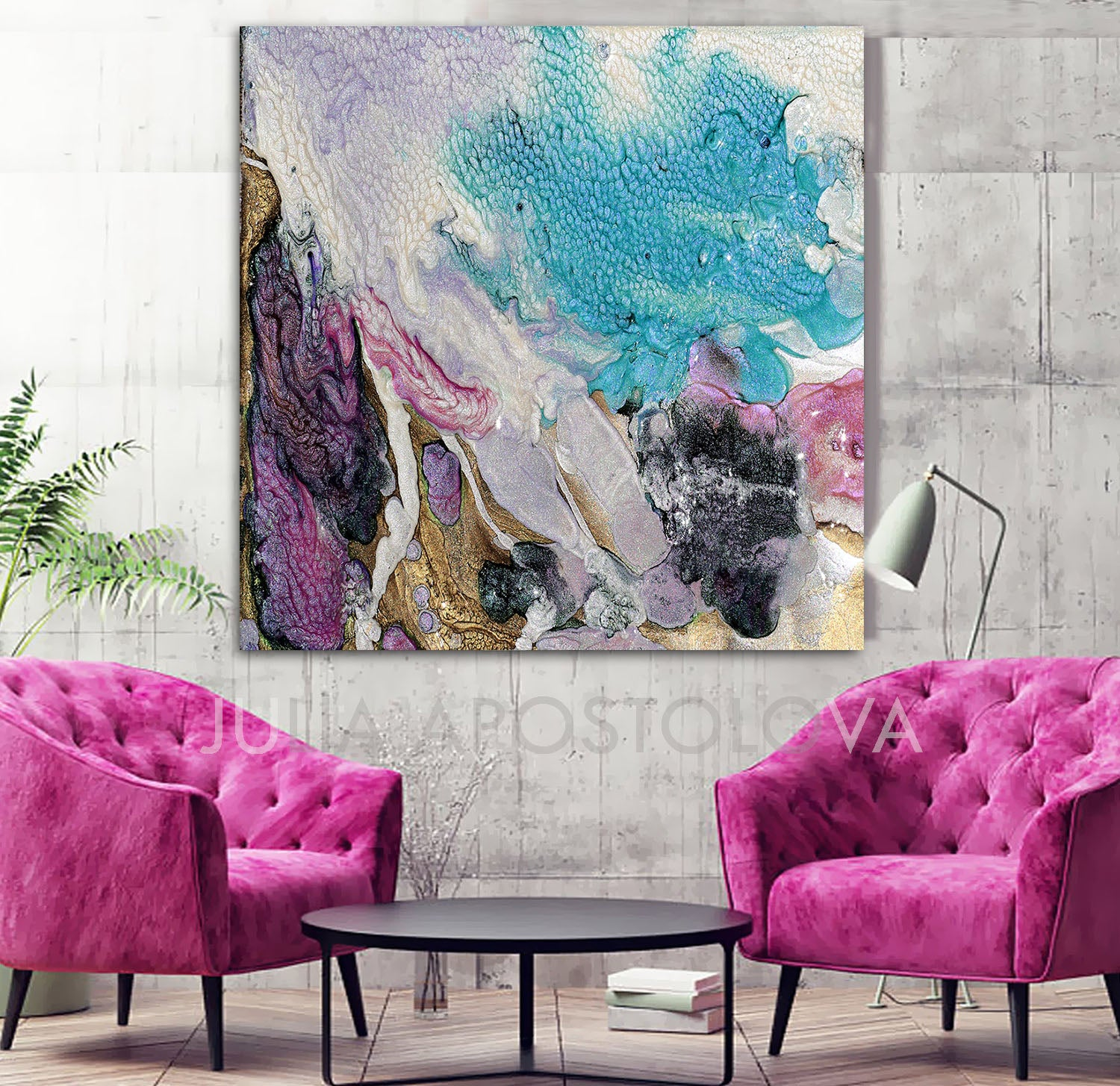 Art Décor: Turquoise Purple Gold, Cell Abstract Art Canvas Print