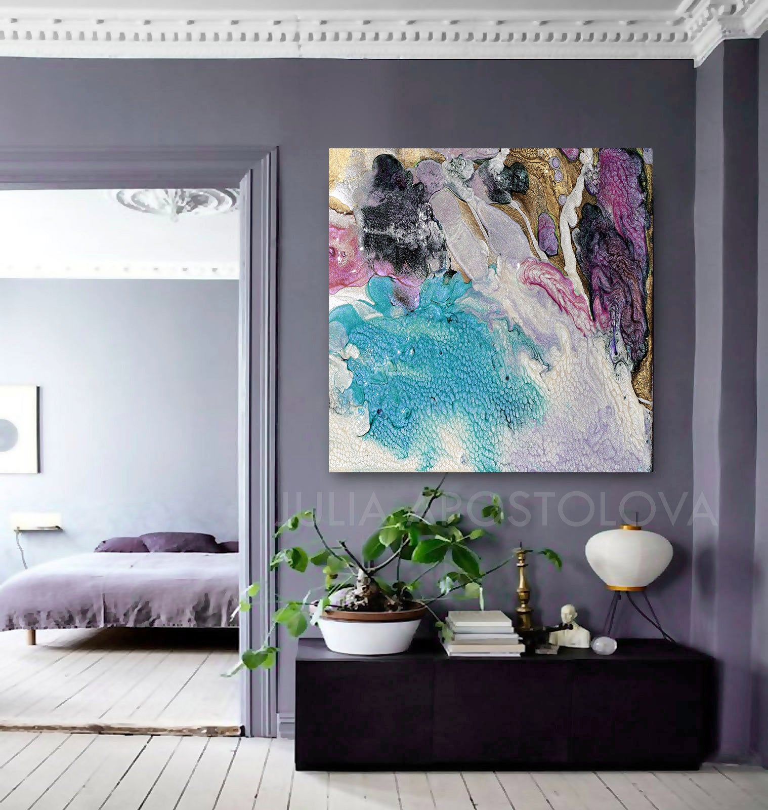 Home Interior Wall Decor: Turquoise Purple Gold, Cell Abstract Art Canvas Print