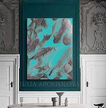 Turquoise Silver Wall Art Abstract Painting, Seascape Art, Watercolor, Embellished Print on Canvas