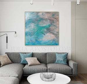 Modern Wall Art Teal Abstract Seascape Painting, Textured Canvas Print, Minimalist Coastal Art Decor, Beach Wall Art Abstract, Minimal Art, Julia Apostolova, Minimalist Painting, Interior, Design Ideas, Intereior designer, Canvas Print, Large Wall Art, Modern Decor, Peaceful, Zen Artwork, Turquoise Teal Colors, Bedroom Art, Nursery Decor