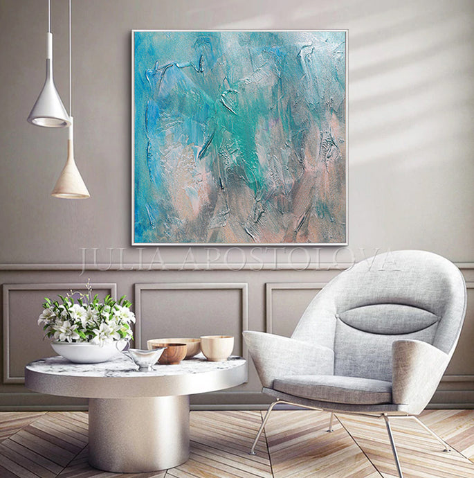 Modern Wall Art Teal Abstract Seascape Painting, Blue Turquoise, Livingroom, Textured Canvas Print, Minimalist Coastal Art Decor, Beach Wall Art Abstract, Minimal Art, Julia Apostolova, Minimalist Painting, Interior, Design Ideas, Intereior designer, Canvas Print, Large Wall Art, Modern Decor, Peaceful, Zen Artwork, Turquoise Teal Colors,