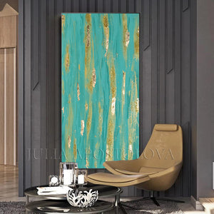 Original Painting, Turquoise Wall Art, Large Art, Contemporary Art, Abstract Wall Art, Coastal Wall Art , Turquoise Gold Colors, Glitter, Gold Leaf, Shining Golden Details, Sparke Art, Glam, Zen , Interior Decor,  Julia Apstolova, Luxury, Hotel Lobby, Home Decor, Spa Decor, Interior Designers, Wall Art, Painting, Livingroom, Bathroom, Bedroom Decor