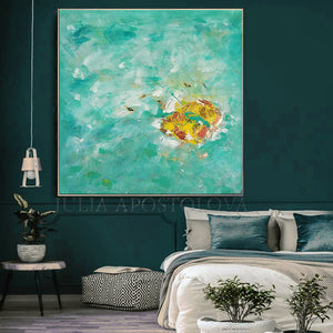 Turquoise Wall Art, Original Wall Art, Minimalist Abstract Seascape Painting, Green Wall Art, Julia Apostolova, Romantic Floral Abstract Painting Elegant Gold Leaf Art, Pastel Colors, Modern Romantic tender art, Original Abstract Gold Leaf Painting, Art Gift for Her, Girls Room Decor, Interior Decor, Interior Design, Interior Designers, Kids Room Decor, Wall Art Design, Gold Leaf Wall Art, Glitter, Golden Accents, Modern Decor, Zen, Floral Art, Floral Abstract, Original Wall Art, Original Artwork