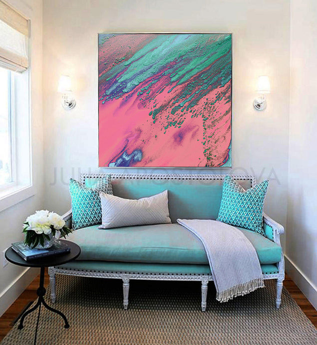 Pink Turquoise Wall Art Abstract Watercolor Painting Print Pastel Colors, Julia Apostolova, Girl Room Decor, Gift for Her, Minimalist Art, Home Decor, Interior Designers, Large Wall Art, Textured Canvas, Office Decor, Living Room Decor, Kids Room Art Decor, Bedroom Art, Romance, Romantic Painting, Romantic Wall Art, Romantic Dream