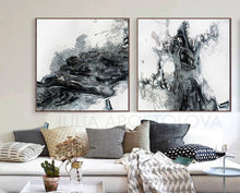 Large Black White Gray Painting Abstract Wall Art for Modern Decor, Julia Apostolova, Ready to Hang, Embellished Canvas, white art, white and black print, white and black painting, white and black canvas print white and black canvas, white abstract , white watercolour art watercolour watercolor print, modern abstract minimalist white wall art minimalist white painting minimalist white art, Minimalist Painting, minimalist art minimalist, minimal blue decor, minimal artwork