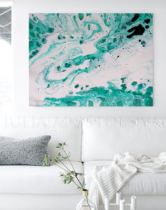 White Turquoise Wall Art Abstract Minimalist Painting, Modern Canvas Art Print of Original Painting