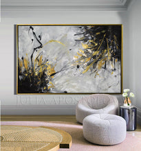 Grey Wall Art, Gold Black Wall Art, Huge Original Gold Leaf Abstract Painting 'Angels Touch', Julia Apostolova, Interior, Decor, Gray Wall Art, Design, Minimalist Painting, Original Art, Interior Designers, Modern Art, Livingroom, Bedroom, Office Art, Home Decor, Interior Design