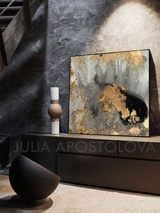 Gold Abstract Print, Gold Leaf Painting, Julia Apostolova, Visual Fine Art, Watercolor, Modern Wall Decor, Ready to Hang Art, Minimalist Painting, Gold Leaf Print, Gold Leafing, Gold Leaf Artwork, Large Wall Art, Bedroom, Office Decor, Home Decor, Living Room, Interior Decor, Visual Fine Art, Visual Art, Visual Artist
