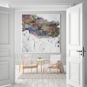 Abstract Seascape, winter colours, winter painting, White and Earth Colours, White, Gray, Grey, Siver, Green, Canvas Art Print, Minimalist Painting, Minimal Art, Modern Decor, Large Wall Art, Part 2 of Diptych Painting, Julia Apostolova, Interior Design, Interior Designer, Home Decor, Modern Decor, Sea Abstract, Diptych, Ideas, Interior Ideas, Elegant, Minimal, Minimalist, Decor, Office Decor, Modern Art, Livingroom, Bedroom