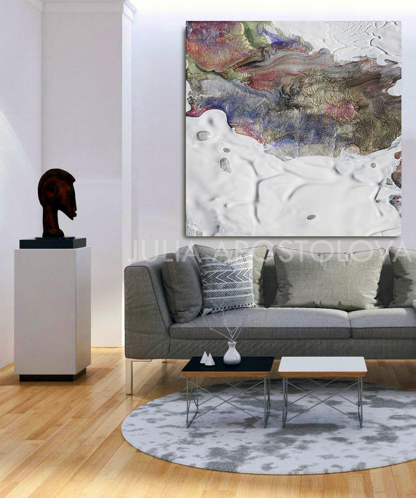 neutral wall art canvas abstract seascape winter colours painting white and earth colours white abstract neutral wall art modern office decor canvas print