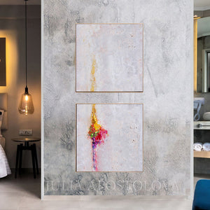Minimalist White Wall Art Set of Two Abstract Textured Canvas Paintings for Elegant Interior Decor, White Abstract, Interior Design, White and Rainbow, Wall Art, Modern Paintings, Minimalist Decor, Bedroom Art, Office Decor, Home Art, Hotel Lobby Decor, sophisticated art