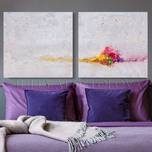 Minimalist White Wall Art Set of Two Abstract Textured Canvas Paintings for Elegant Interior Decor, White Abstract, Interior Design, White and Rainbow, Wall Art, Modern Paintings, Minimalist Decor, Bedroom Art, Office Decor, Home Art, Hotel Lobby Decor