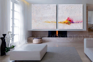 White Abstract, Minimalist Paintings, White Wall Art Set of Two Abstract Textured Canvas Paintings for Elegant Interior Decor, White Abstract, Interior Design, White and Rainbow, Wall Art, Modern Paintings, Minimalist Decor, Bedroom Art, Office Decor, Home Art, Hotel Lobby Decor, sophisticated art