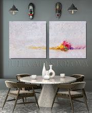 White Paintings, Cosy, Minimalist Wall Art Set of Two Abstract Textured Canvas Paintings for Elegant Interior Decor, White Abstract, Interior Design, White and Rainbow, Wall Art, Modern Paintings, Minimalist Decor, Bedroom Art, Office Decor, Home Art, Hotel Lobby Decor, sophisticated art