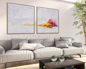 Minimalist White Wall Art Set of Two Abstract Textured Canvas Paintings for Elegant Interior Decor, White Abstract, Interior Design, White and Rainbow, Wall Art, Modern Paintings,