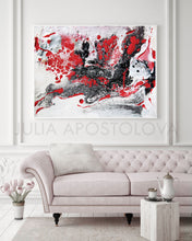 White Red Black Abstract, Minimalist Painting, Minimal Art, Abstract Canvas Print, Julia Apostolova