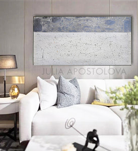Silver Leaf, Wall Art, Minimalist Abstract, Large Wall Art, Elegant Art, White Gray Wall Art, Original Painting, ''Moonlight Sonata'', Julia Apostolova, glitter art, glamour, luxury, glamorous, glam, bedroomart, livingroom, decor, luxury decoration, silver leaf art, silver leaf painting, wall decor Grey Wall Art, Sliver Painting, minimalist decor, interiordesign interiordesigners
