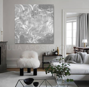 gray painting, grey painting, silver painting, modern interior, home decor, gray, grey art, large wall art, julia apostolova, minimalist, minimal art, abstract art, modern, living room, contemporary art, interior ideas, art disigner, artist