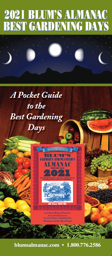 2021 Blum's Best Garden Days Chart