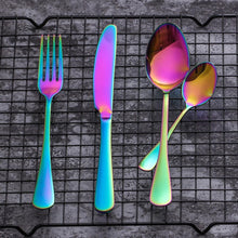 Load image into Gallery viewer, Premium Stainless Steel Rainbow Silverware Set