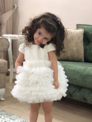 Off-White Toddler Girl Ruffle Tutu Dress - Birthday Girls