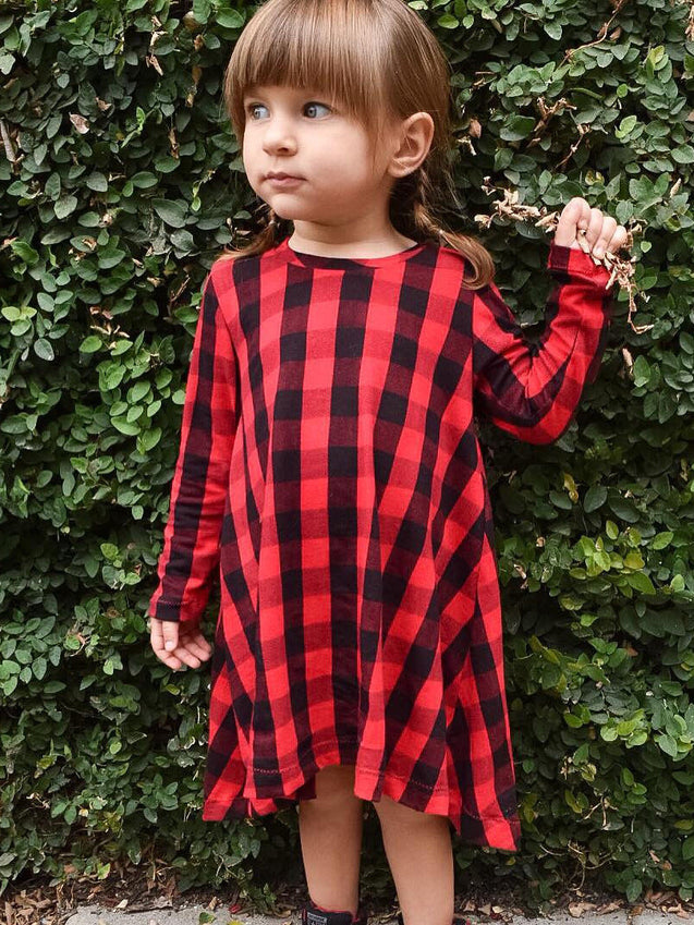 Red and Black Plaid Dress