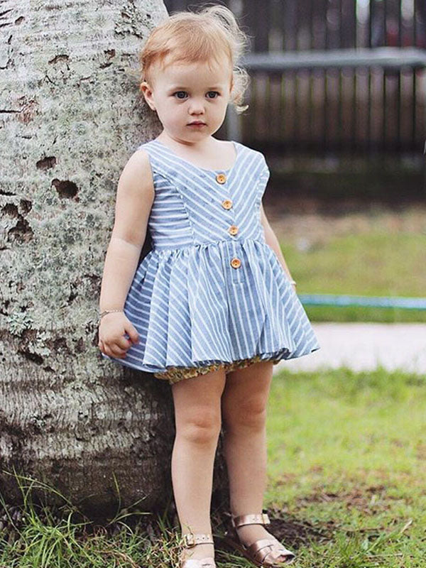 Summer Sleeveless Button Stripped Dress + Floral Shorts Hot Pant