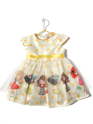 Yellow Tutu Dress With Cartoon Character