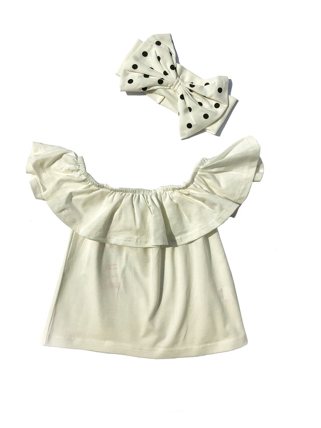 Off shoulder Top, Skirt and Dotted Head Band