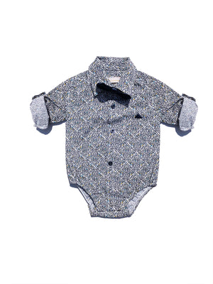 Baby Boy Romper Long Sleeve Shirt with Bow Tie