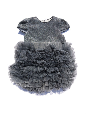 Grey Toddler Girl Ruffle Tutu Dress - Birthday Girls