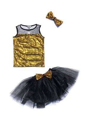 3 Pcs Baby Tutus Set - Black and Gold Tutu Skirt Set - For Birthday Girls
