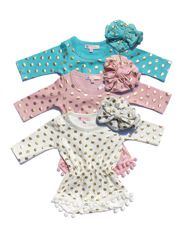 Baby Girl Romper with Head Band 2Pc Set