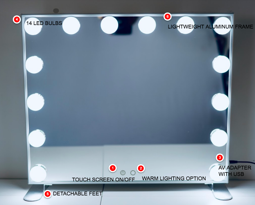 Vanity Glam Mirror with LED Lights
